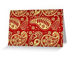 Oriental Persian Paisley, Swirls - Red Yellow  Greeting Card