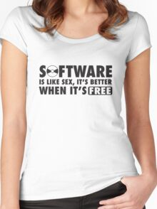 Software is like sex, it's better when it's free. Women's Fitted Scoop T-Shirt
