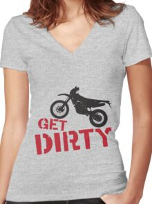 Get Dirty Women's Fitted V-Neck T-Shirt