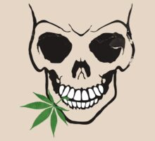 Skull with Weed -  Cool Skull with Pot - T Shirt Stickers by Denis Marsili