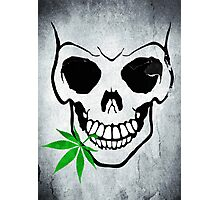 Skull with Weed -  Cool Skull with Pot - T Shirt Stickers Photographic Print