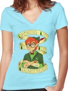 Growing Up is Too Mainstream Women's Fitted V-Neck T-Shirt