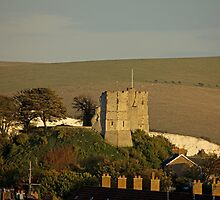 Lewes Castle in evening sun by Sue Robinson