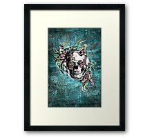 Grunge butterfly smoke skull Framed Print