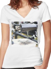 Percussion Rack with Cowbell and Cymbals Women's Fitted V-Neck T-Shirt
