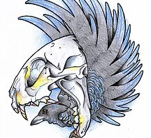 Cat Skull with Bird by inketteroulette