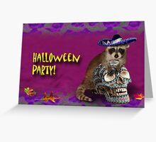 Halloween Party Raccoon Greeting Card