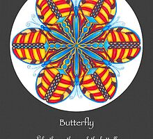 Butterfly Mandala Poster w/grey background by TheMandalaLady