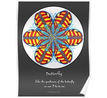 Butterfly Mandala Poster w/grey background Poster