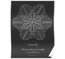 Butterfly Mandala Poster - White Design Poster