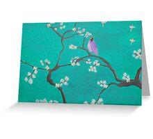 Blossom - teal Bird Greeting Card