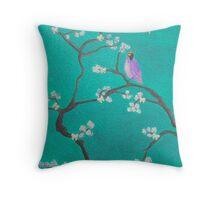 Blossom - teal Bird Throw Pillow
