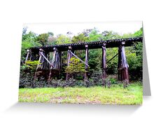 railroad trestle in the woods Greeting Card