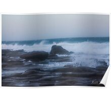 wave across the rocks Poster