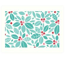 Holly berries and leaves pattern Art Print