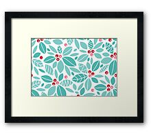 Holly berries and leaves pattern Framed Print