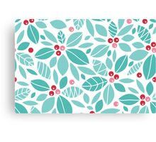 Holly berries and leaves pattern Canvas Print