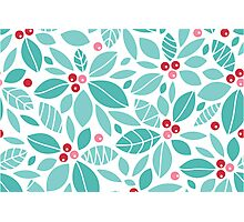 Holly berries and leaves pattern Photographic Print