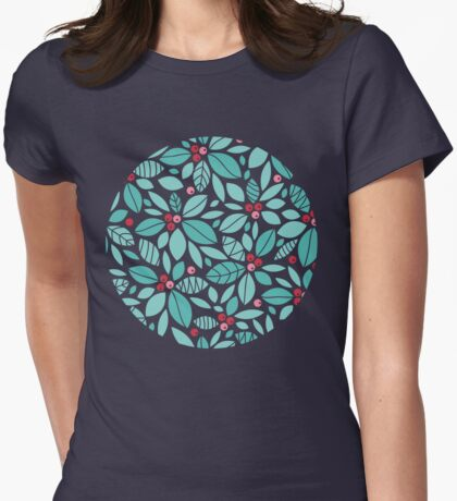 Holly berries and leaves pattern Womens Fitted T-Shirt