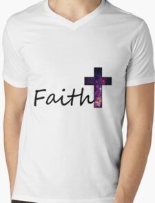 Faith- Galaxy Cross Mens V-Neck T-Shirt