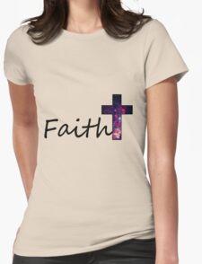 Faith- Galaxy Cross Womens Fitted T-Shirt