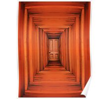 Orange Planks Hall And Door Poster
