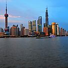 The New Shanghai Taken From The Bund, China. by Ralph de Zilva
