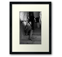 GET OFF THE PHONE , THE SLASHER IS BEHIND YOU !! Framed Print