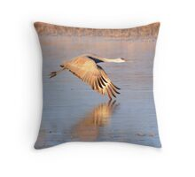 Crane over Ice Throw Pillow