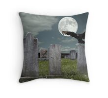 Graveyard with Fullmoon Throw Pillow