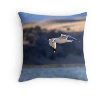 Ring-billed Gull over Ennis Lake Throw Pillow