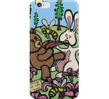 Teddy Bear And Bunny - Do Not Lick The Bees iPhone Case/Skin