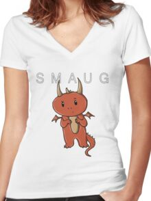 Smaug | Dragon [with text] Women's Fitted V-Neck T-Shirt