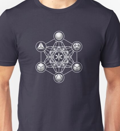 Platonic Solids, Metatrons Cube, Flower of Life Unisex T-Shirt