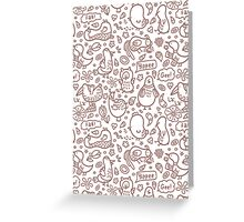 outline doodle birds pattern Greeting Card