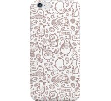 outline doodle birds pattern iPhone Case/Skin
