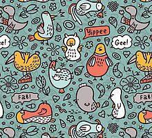 doodle birds pattern by BoYusya