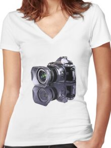 Olympus OM-D standing all on its own  Women's Fitted V-Neck T-Shirt