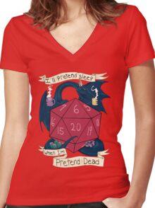 I'll Pretend Sleep When I'm Pretend Dead Women's Fitted V-Neck T-Shirt