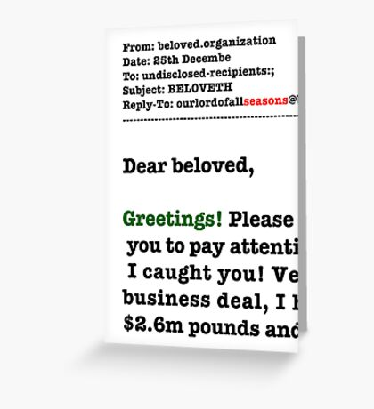 Seasons Greetings Spam Christmas Card Greeting Card