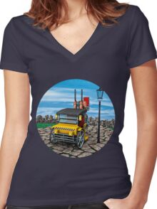 Steam Cab-Taxi  Women's Fitted V-Neck T-Shirt