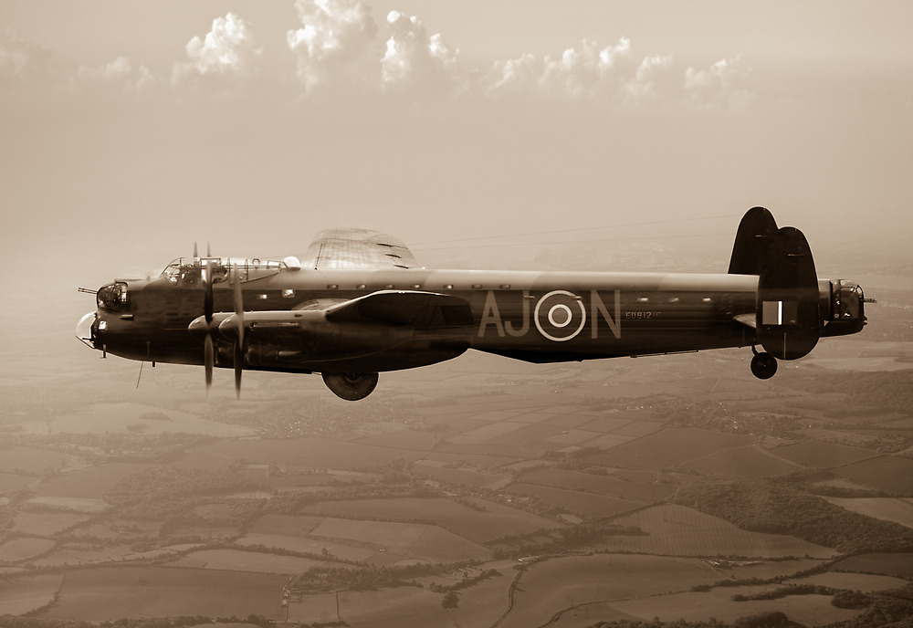Dambusters Lancaster AJ-N sepia version by Gary Eason + Flight Artworks