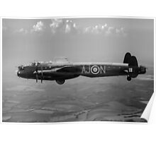 Dambusters Lancaster AJ-N black and white version Poster