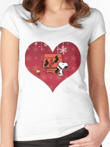 Snoopy Red Holiday Women's Fitted Scoop T-Shirt