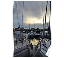 Lavandou international marina in the evening sun at the french Riviera Poster