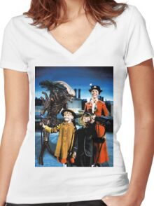 Alien in Mary Poppins Women's Fitted V-Neck T-Shirt