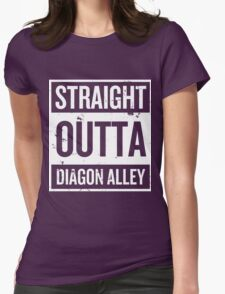 Straight Outta Diagon Alley - White Words Womens Fitted T-Shirt
