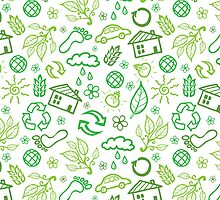 Eco symbols line art pattern by oksancia