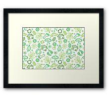 Eco symbols line art pattern Framed Print