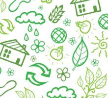 Eco symbols line art pattern Sticker
